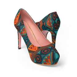 Orange & Blue Mosaic Platform Heels Shoes US 10