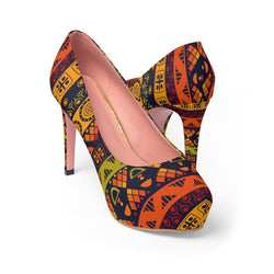 Orange & Yellow Tribal Platform Heels Shoes US 10
