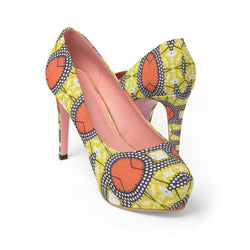 Traditional Orange Platform Heels Shoes US 10