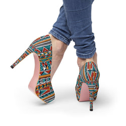 Triangle Tribal Platform Heels Shoes US 10