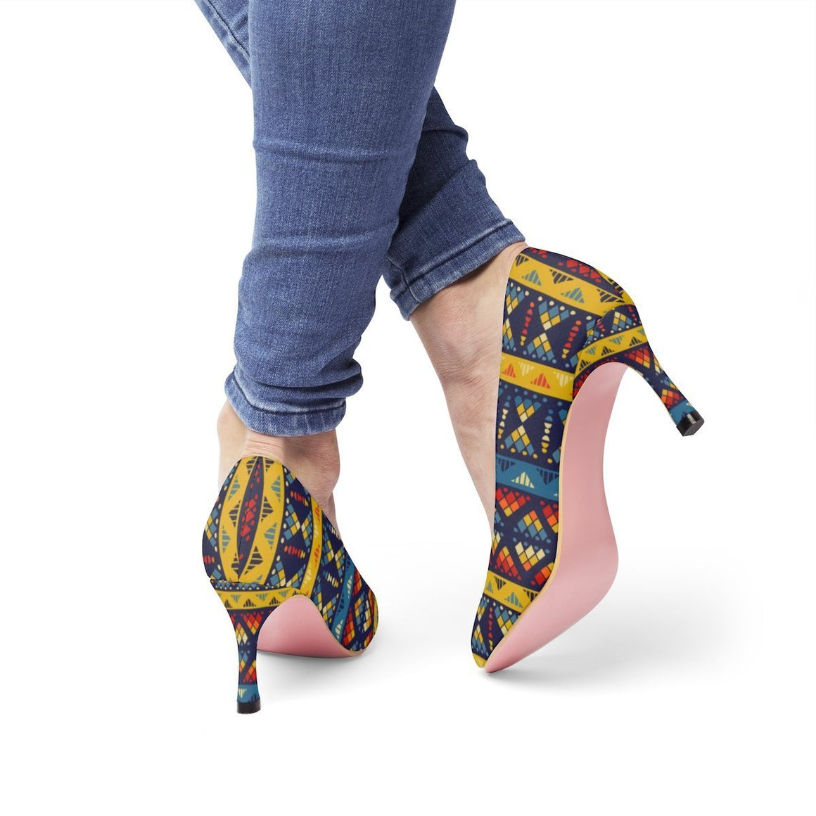 Yellow & Blue Mosaic Heels Shoes US 10
