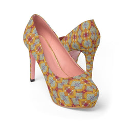 Yellow Diamond Platform Heels Shoes US 10