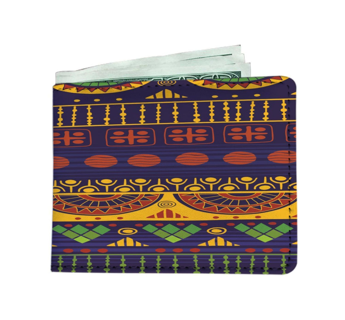 Blue & Yellow Tribal Men's Wallet Mens Wallet
