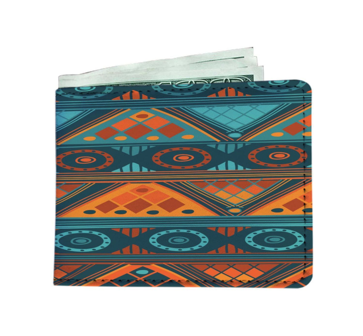 Orange & Blue Mosaic Men's Wallet Mens Wallet
