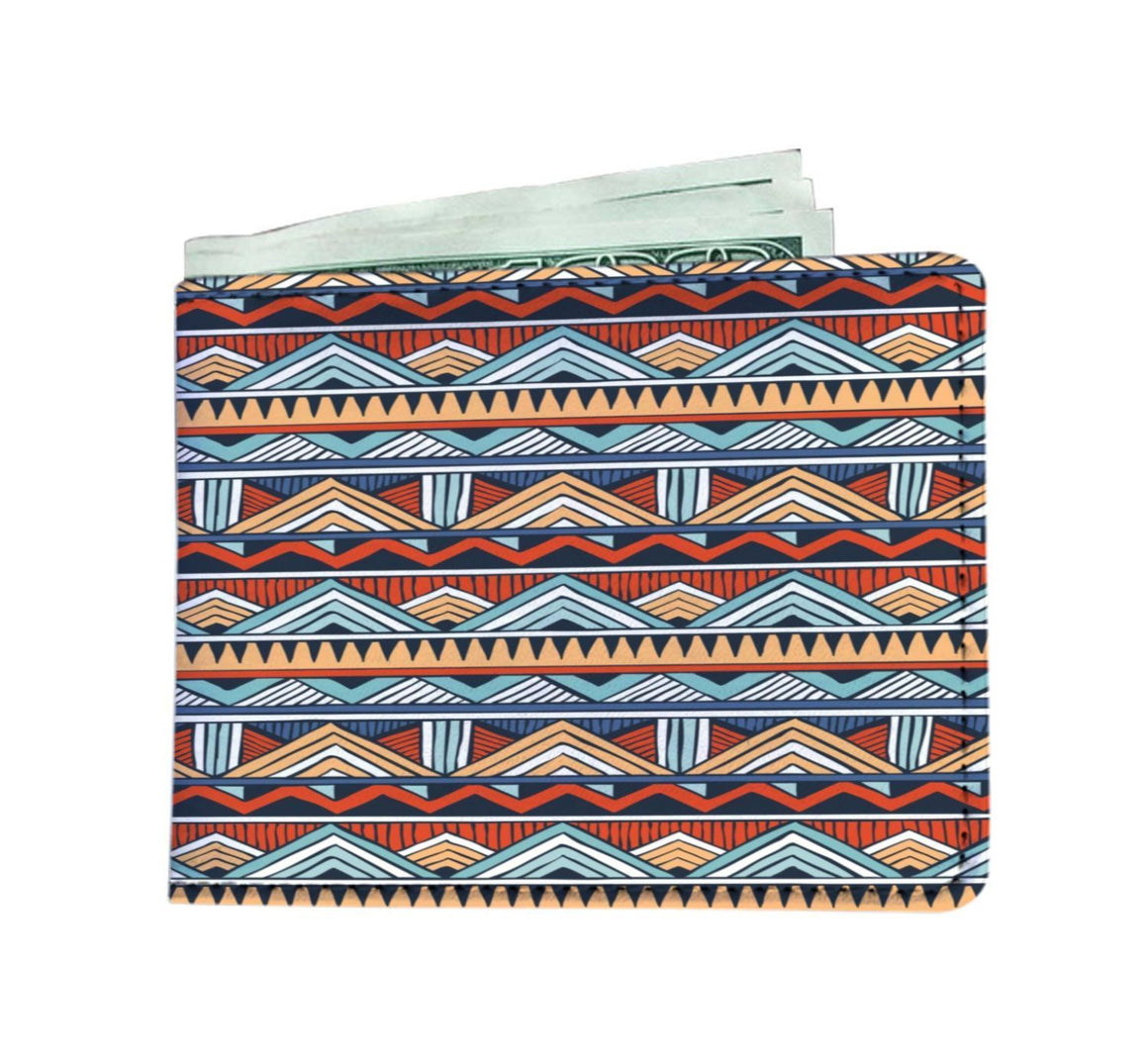 Red & Blue Tribal Men's Wallet Mens Wallet