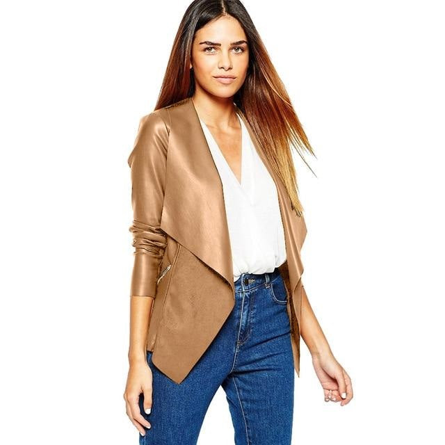Winter Spring Jacket Women/Faux Leather Jacket Coat Winter Tops
