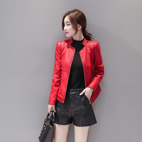 Women Leather Coat Female Short Motorcycle Leather Jacket Women's Outerwear