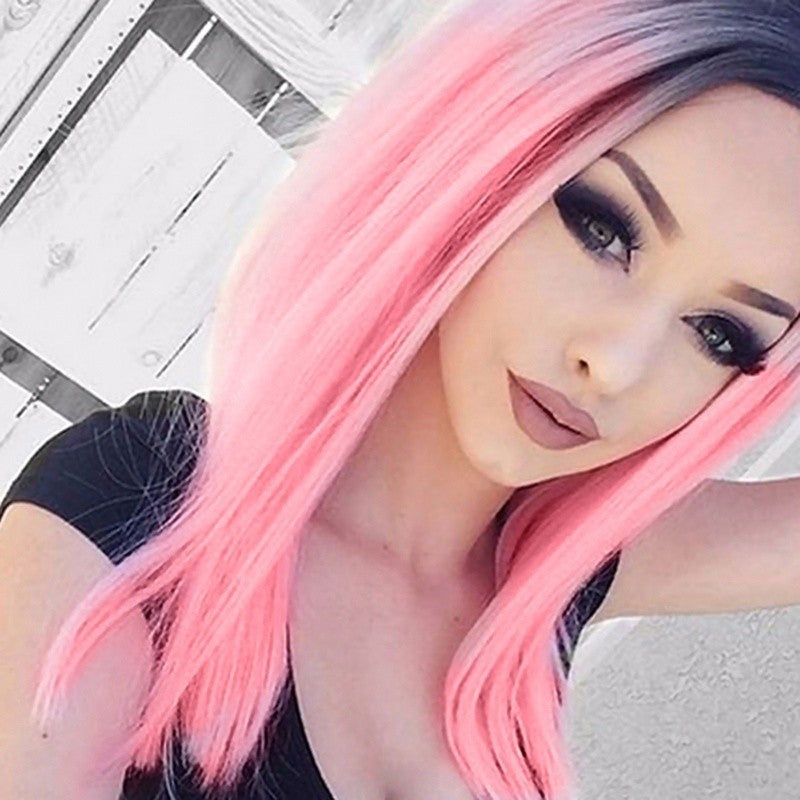 18'' Women Fashion Heat Resistant Synthetic Ombre Black Pink Wigs