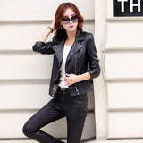 Leather Coat, Slim Short Leather Jacket Women's Outerwear
