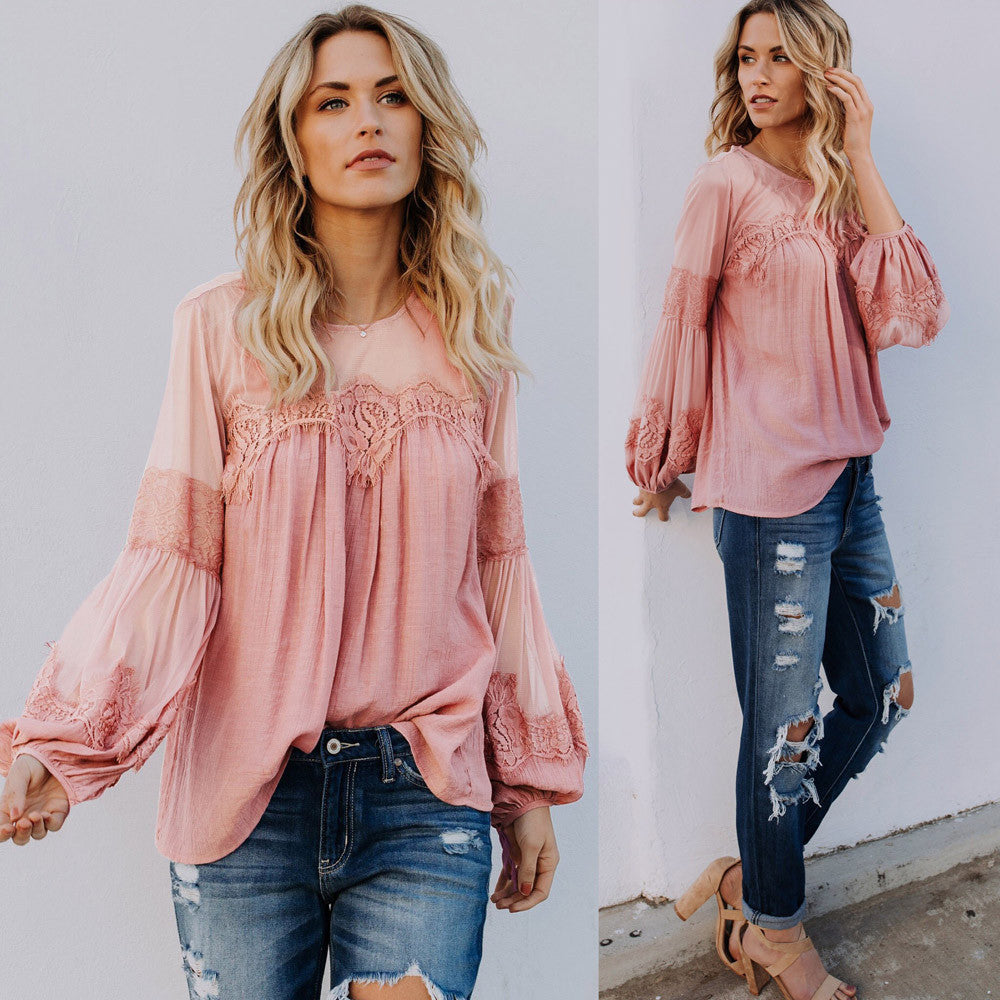 Women Long Sleeve Blouse Casual Loose Tops T-Shirt
