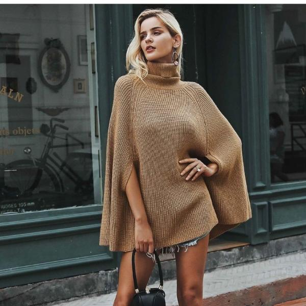 Turtleneck Knitted Cloak Sweater