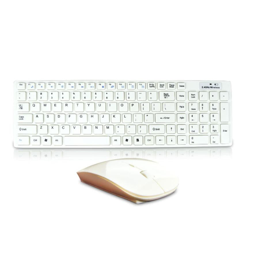 2017 Comfortable to Operate High Quality Mini Ultra thin White 2.4G Cordless Wireless Keyboard and Optical Mouse