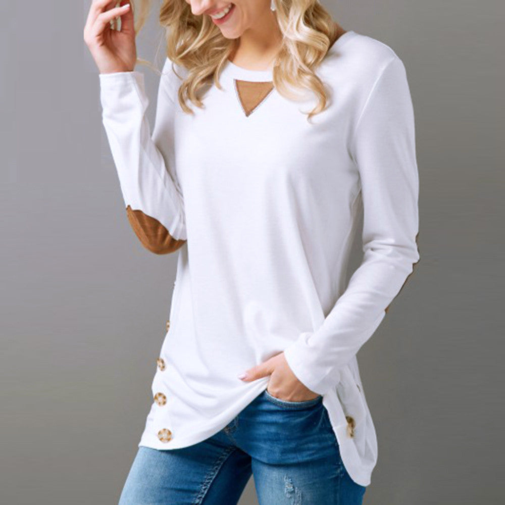 Casual Long Sleeve Round Neck Button Sweatshirt Loose Pullover