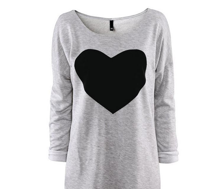 Fashion Women Love Heart Printed Long Sleeved Round Neck T-Shirt S