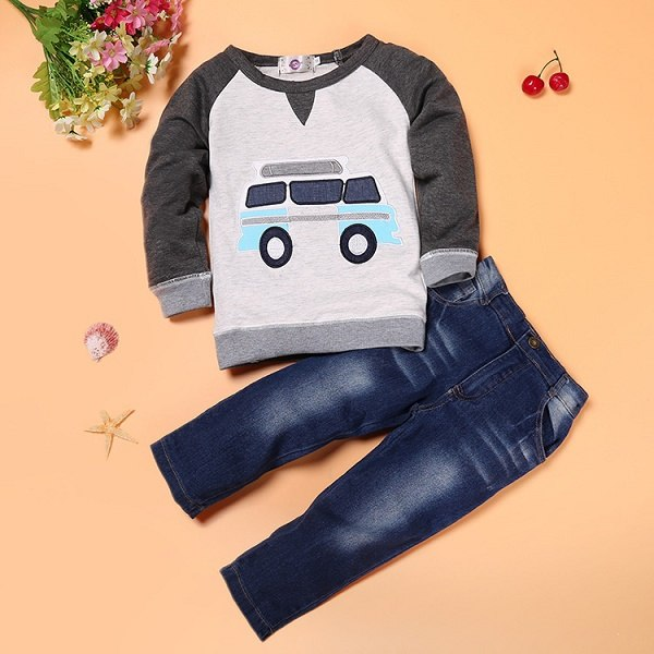 Kids Set Cartoon Car pattern T-shirt + jeans