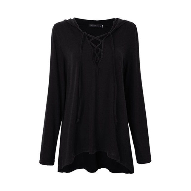 V Neck Hollow Out Lace Up Solid Shirts