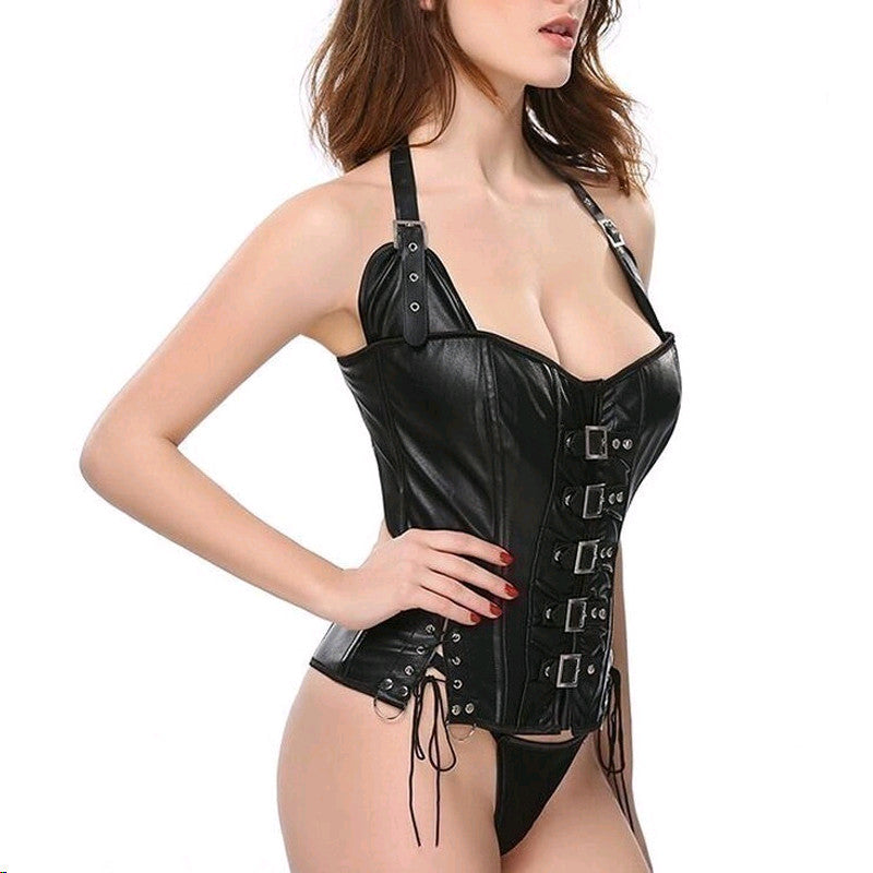 Waist Cincher Steampunk Punk Rock Faux Leather Buckle-up Lace Up Back Corset Bustier Basque Top
