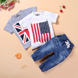 ST110 new boys summer clothes set with British and American flag baby clothes T-shirts + jeans kids clothes retail
