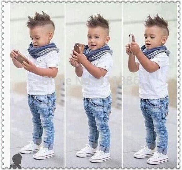 ST137  2018 boys clothing sets children clothing set short sleeved T-shirt + jeans 2 pcs boy clothes suit retail