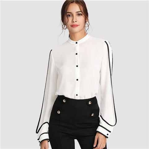 White Elegant Stand Collar Long Sleeve Button Black Striped Blouse