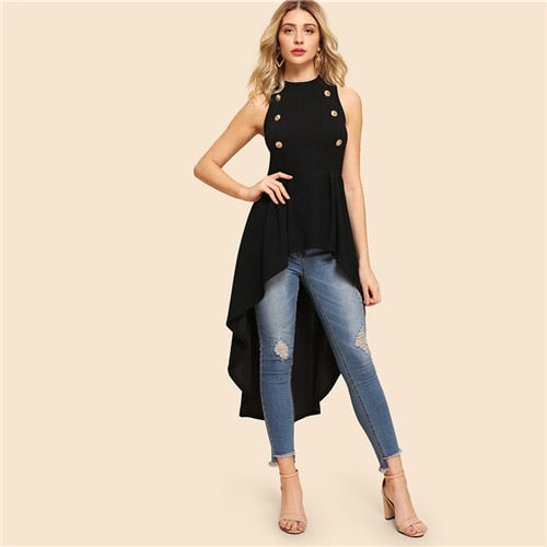 Asymmetrical Embellished Dip Hem Shell Round Neck Blouse