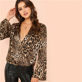 Multicolor Leopard Deep V Neck Ruffle Blouse