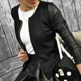 2018 Women Outwear PU Leather Patchwork Jackets Female Casual Short Thin Coats Slim Plaid