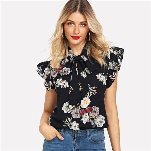 Navy Floral Print Ruffle Tie Neck Flutter Sleeve Blouse