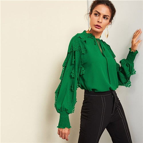 Green Minimalist Highstreet Office Lady Tie Neck Shirred Panel Laser Cut Streetwear Blouse