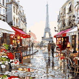 40*50CM DIY Oil Painting Paint By Numbers Digital Hand-painted Living Room Restaurant Decoration Painting Paris Flower Street