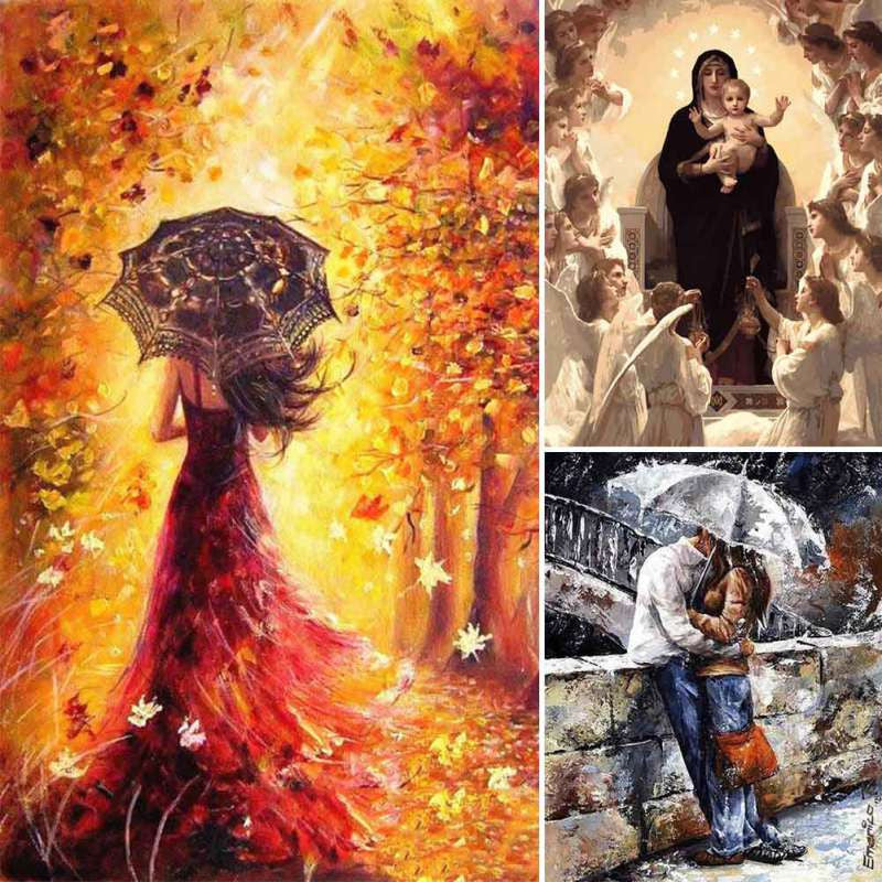 40*50 CM Frameless Painting By Numbers DIY Oil Painting Canvas Print For Living Room Home Decor
