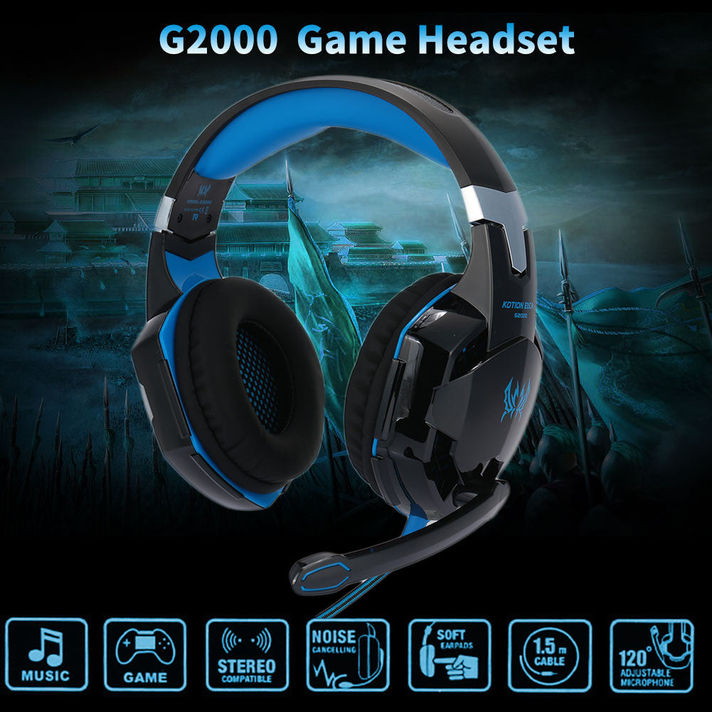PC LED Gaming Headset Headset USB Ear-Cup Noise Isolation with Mic