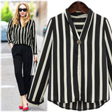 Women Plus Size Striped Office Lady Long Sleeve V Neck Work Blouse Shirt Top
