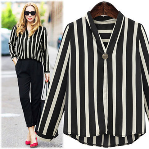 2ab4f39e0f8 Women Plus Size Striped Office Lady Long Sleeve V Neck Work Blouse Shirt Top