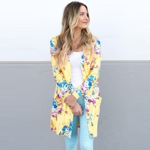 New Women Outerwear Open Front Floral Print Long Sleeves Pockets Elegant Loose Cardigan