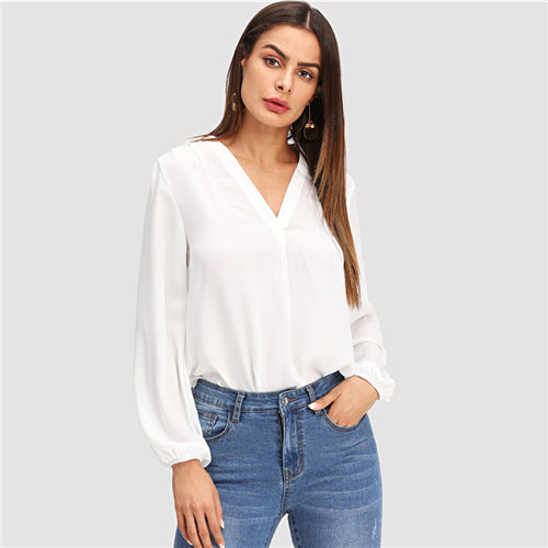 White V Neck Plain Pullovers Long Sleeve Blouse