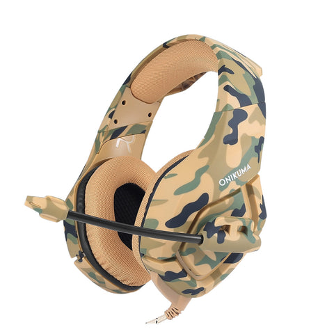 K1-B Gaming Headset Wired Stereo Game Headphones Noise-canceling Gaming Headphone with Mic for PS4 Xbox Laptop Computer Cellphone (Yellow Camo)