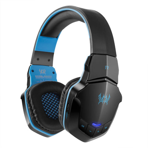 KOTION EACH B3505 Gaming Headset  Wireless Bluetooth Headphone Bluetooth 4.1 Over-ear Stereo Music Earphone with Mic for iPhone7 6 Plus Samsung Tablet PC Black with Blue