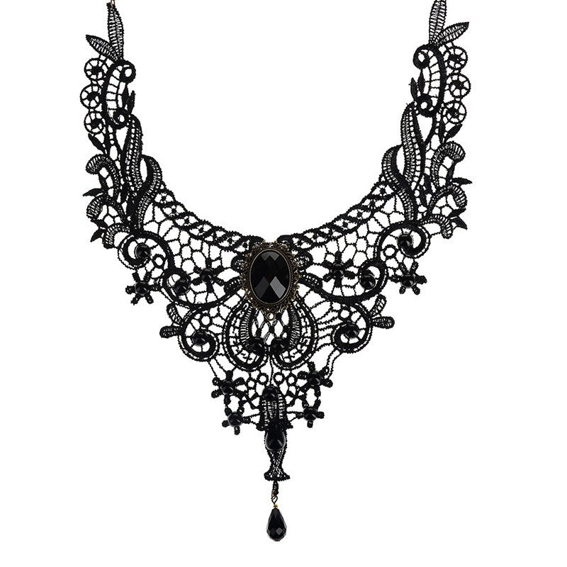 Vintage Black LaceBeads Choker Victorian Steampunk Style Gothic Collar Bib Necklace