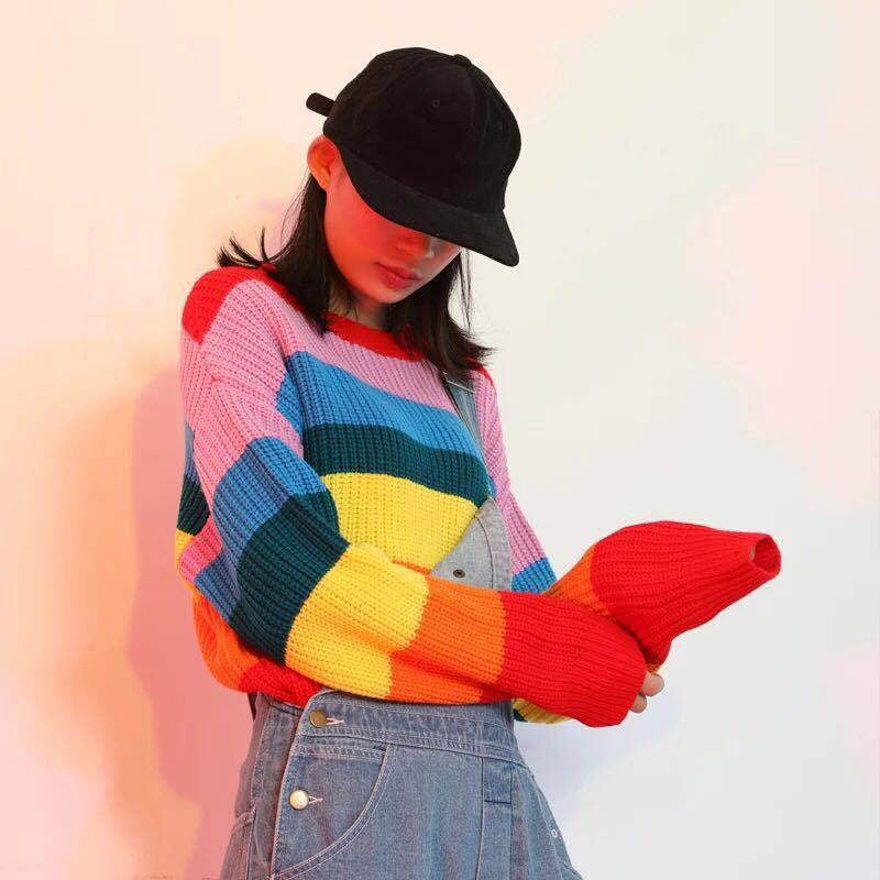 Fashion New Autumn Rainbow Colorful Women Sweater