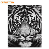 Tigers Animals DIY Painting By Numbers Black White Calligraphy Painting