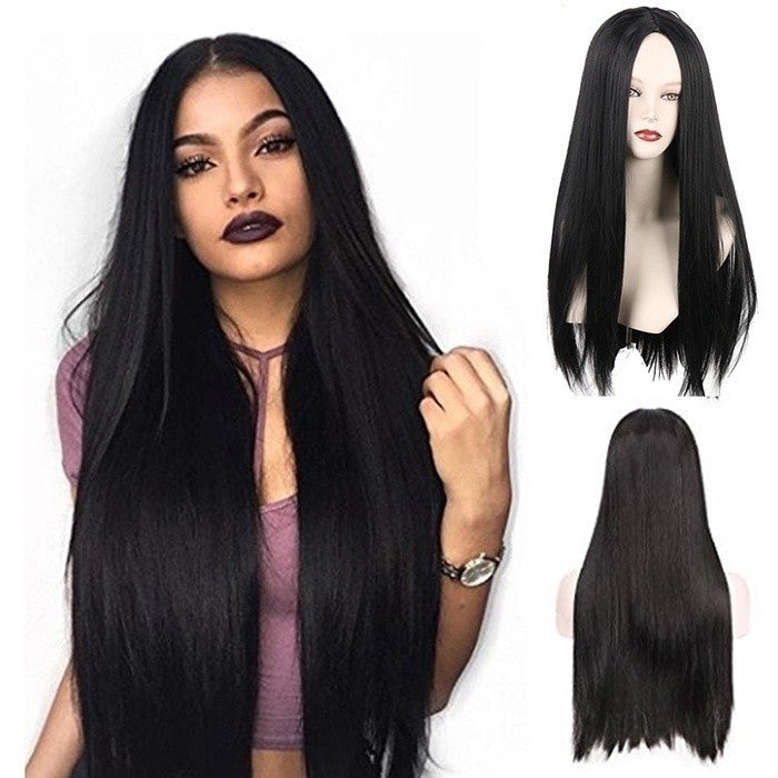 Natural Hair Wig Straight Heat Resistant Synthetic Lace Front Wigs