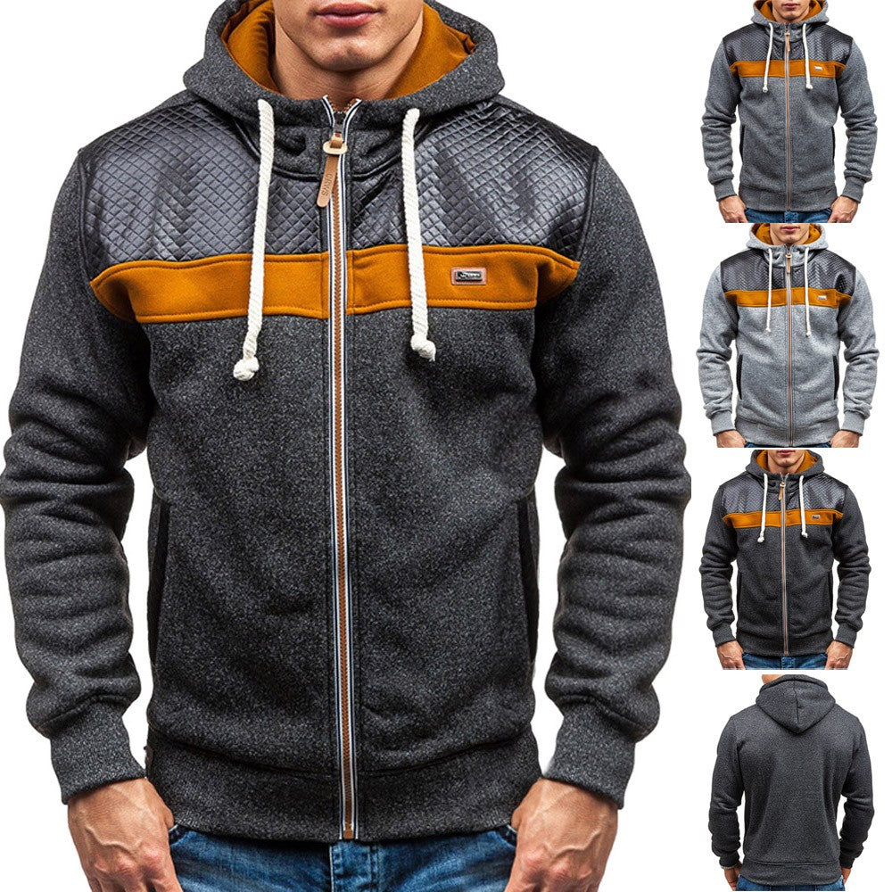 Men's Autumn Winter New Style Fleece Cardigan Hooded Fashion Warm Sweater Coat