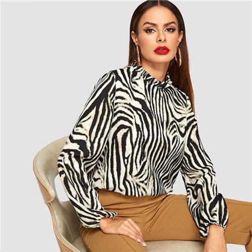 Modern Lady Multicolor Frilled Neckline Zebra Pattern Pullovers