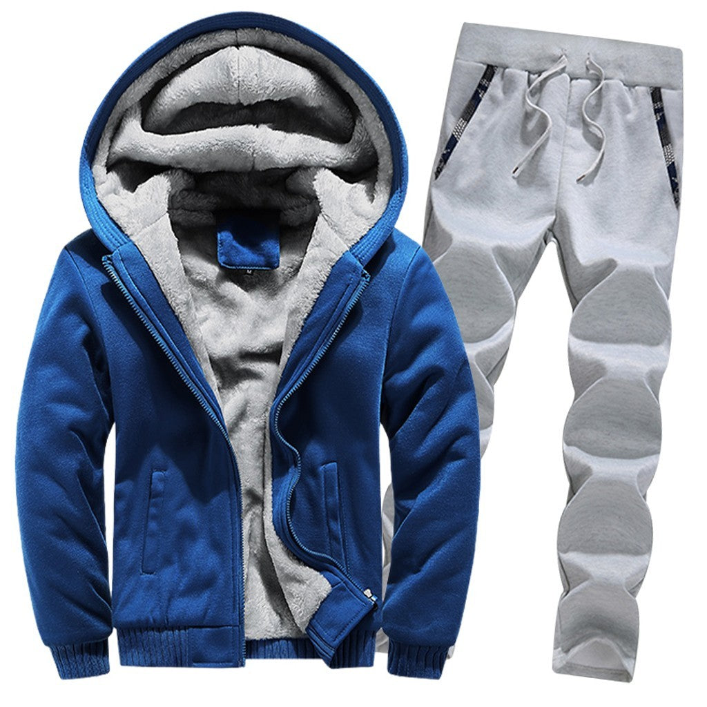 Mens Hoodie Winter Warm Fleece Zipper Sweater Jacket Outwear Coat Top Pants Sets