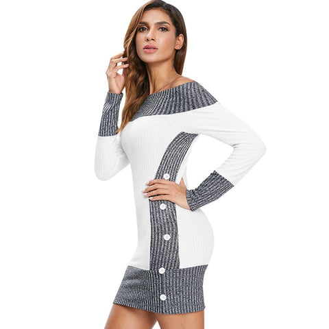 Color Block Knitted Dress Buttons Boat Neck Contrast Color Knitted Dress Long Sleeve