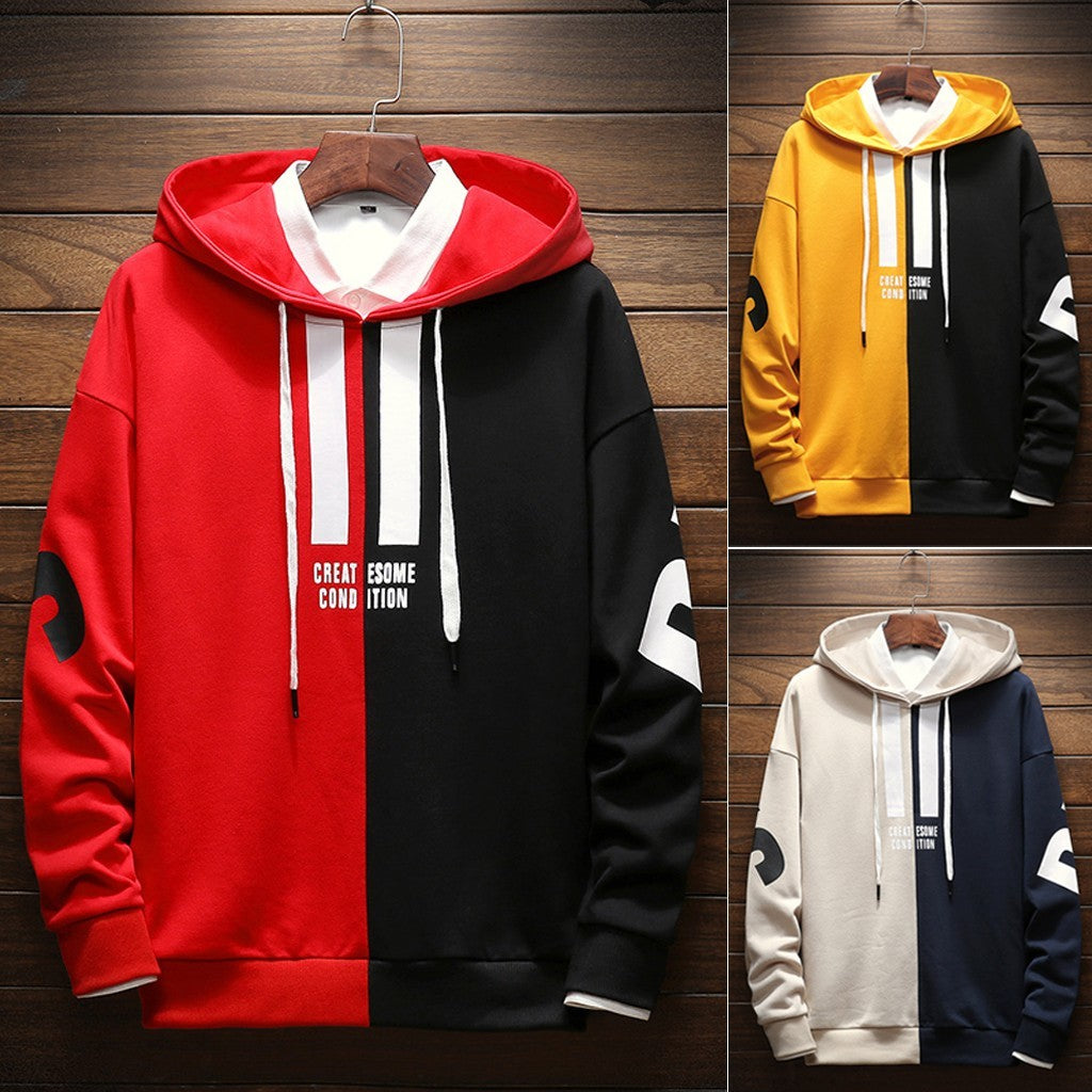 Mens Spring Winter Hip Hop Patchwork Color Pocket Warm Sweater Hoodie Top Blouse