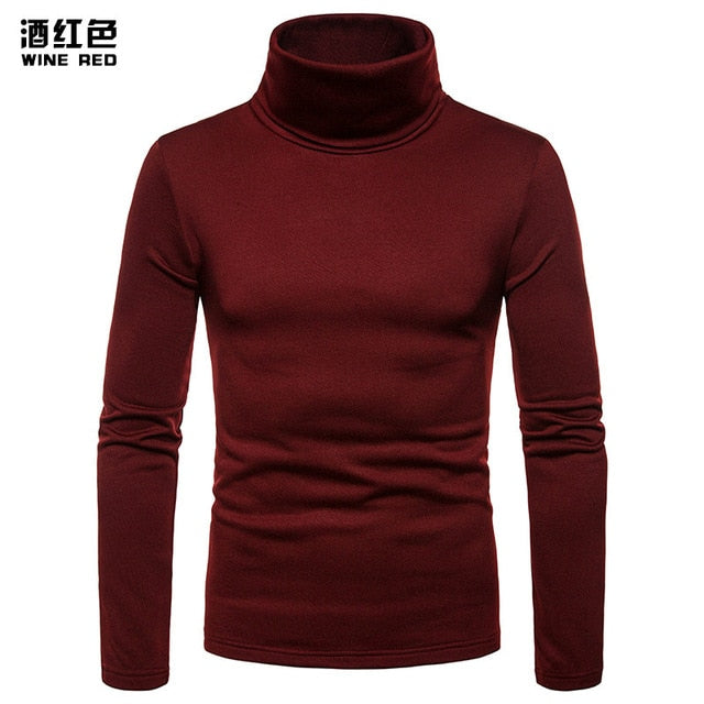 UK Fashion Mens Roll Turtle Neck Pullover Knitted Jumper Tops Sweater Shirt