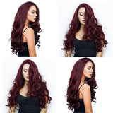 Long Curly Wavy Synthetic Red Wine Natural Full Wig