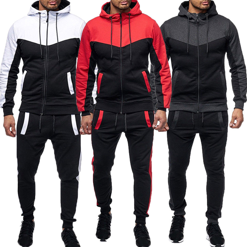 Autumn New Men Gym Sport TrackSuit Hoodie Sweatshirts Jacket Casual Suit Harajuku Set Pants Jogging Plus Size Streetwear